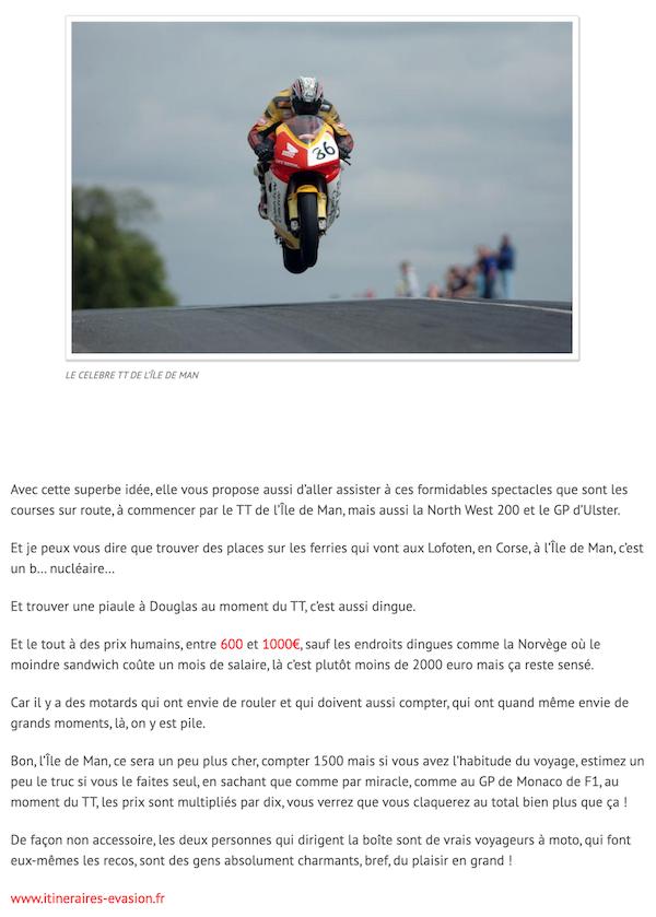 extrait article auto moto news info itinéraires évasion voyage moto