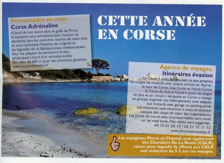 article de presse le journal des motards n°81 sur la Corse