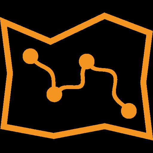 picto orange représentant une carte pour illustrer l'accès à un site