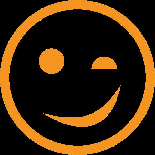 picto orange représentant un visage qui fait un clin d'oeil pour illustrer une anecdote