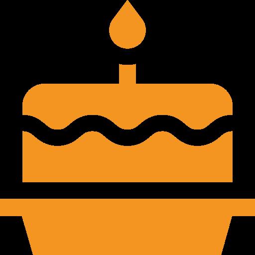 picto orange représentant un gateau d'anniversaire pour illustrer la date de première ouverture d'un musée ou d'une route
