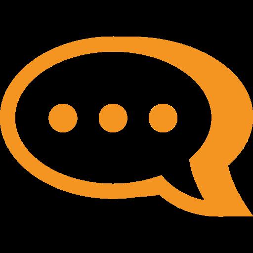 picto orange représentant une bulle de parole pour illustrer nos conseils sur un site touristique