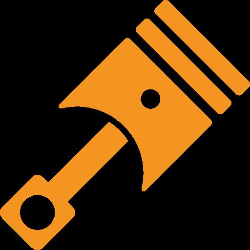 picto orange représentant un piston pour illustrer la cylindree d'une moto
