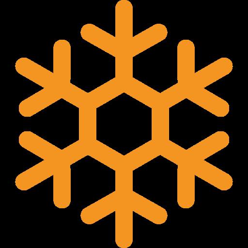 picto orange représentant un flocon de neige pour illustrer les dates de fermeture hivernale