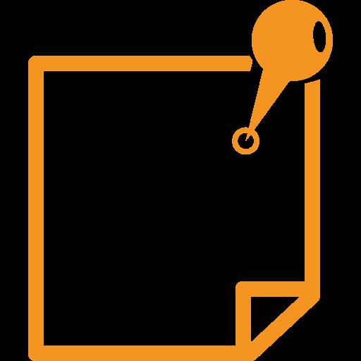 picto orange représentant une note accrochee par une epingle pour illustrer les infos pratiques sur un site touristique