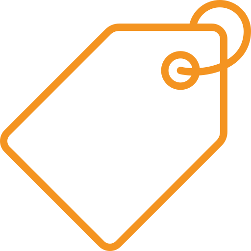 picto orange représentant une étiquette pour illustrer la marque et le modèle d'une moto