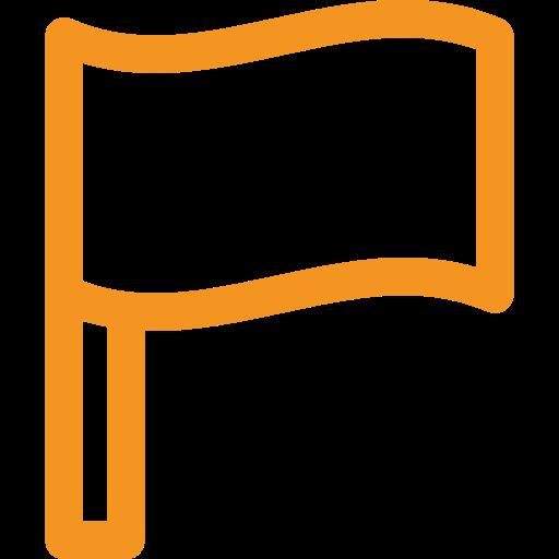 picto orange représentant un drapeau pour illustrer un pays