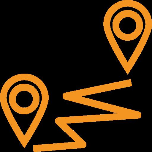 picto orange représentant un chemin entre 2 lieux pour illustrer le voyage associé au site touristique