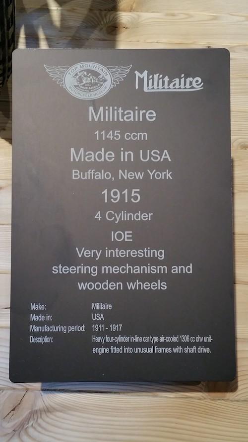 carte d'identité de la moto militaire