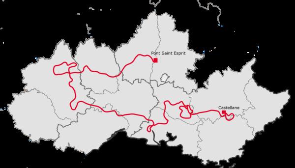 Carte du voyage moto Gorges du Verdon, Luberon, Alpilles, Causses et Cévennes